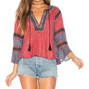 Free People But I Like It Embroidered Top Blouse